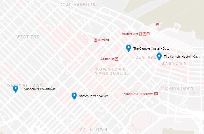 Unterkunft Vancouver: Die beliebtesten Hostels auf einem Blick auf Google Maps