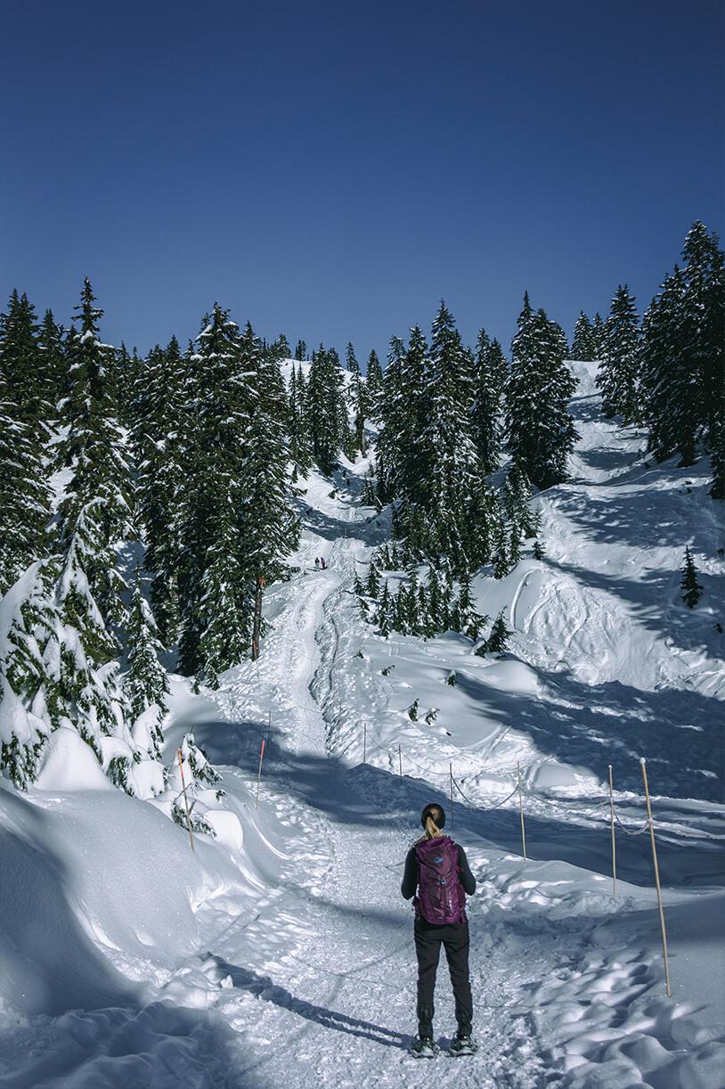 Frau von hinten auf Winterwanderweg