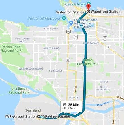 Google Maps SkyTrain Verbindung vom Flughafen Vancouver zur Waterfront