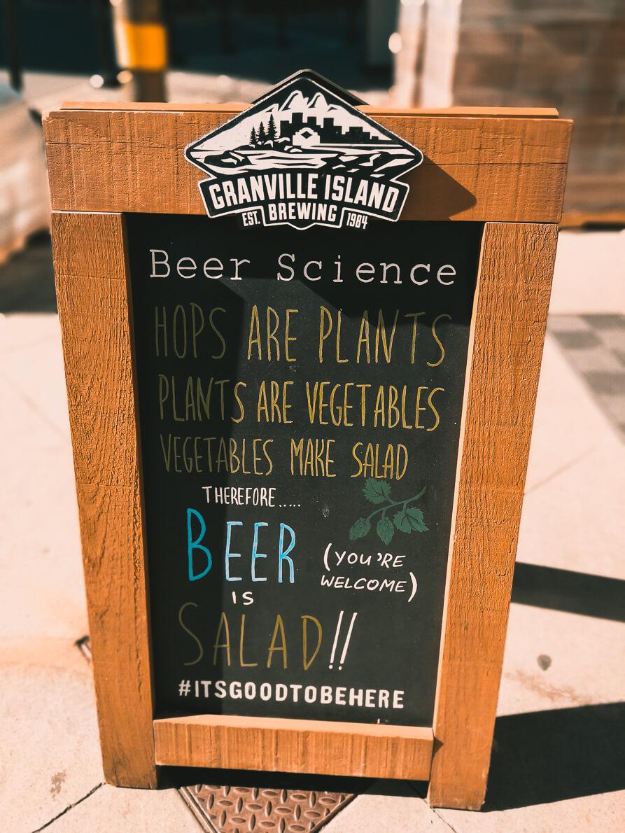 Schild vor Granville Island Brewery