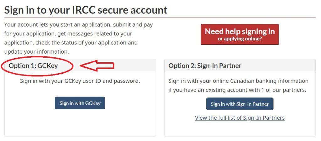 Screenshot sign in Optionen