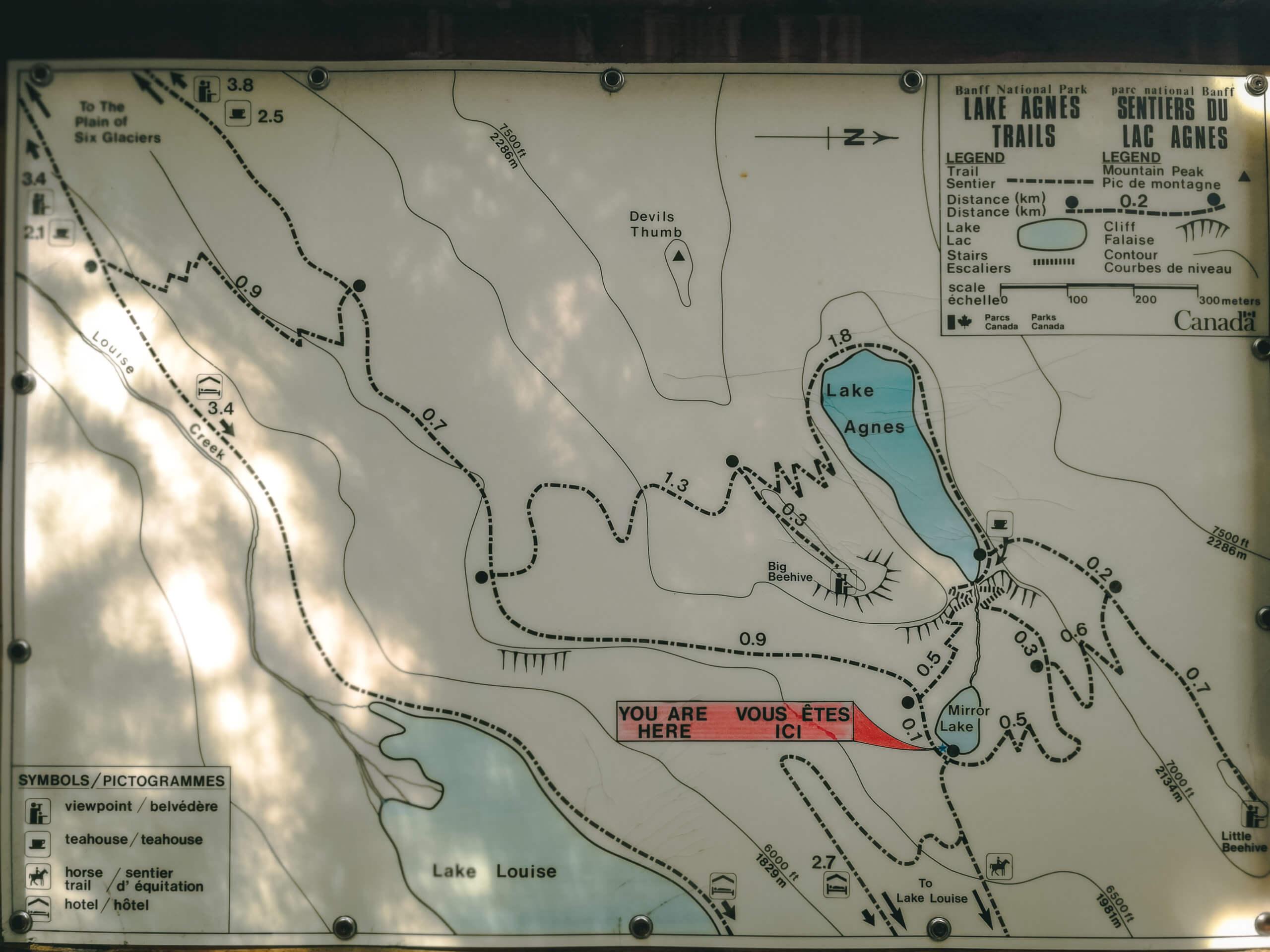 Wanderkarte Lake Agnes Trails