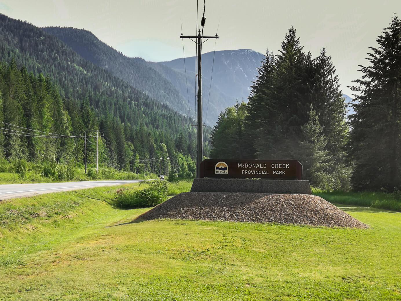 Schild McDonald Creek Provincial Park